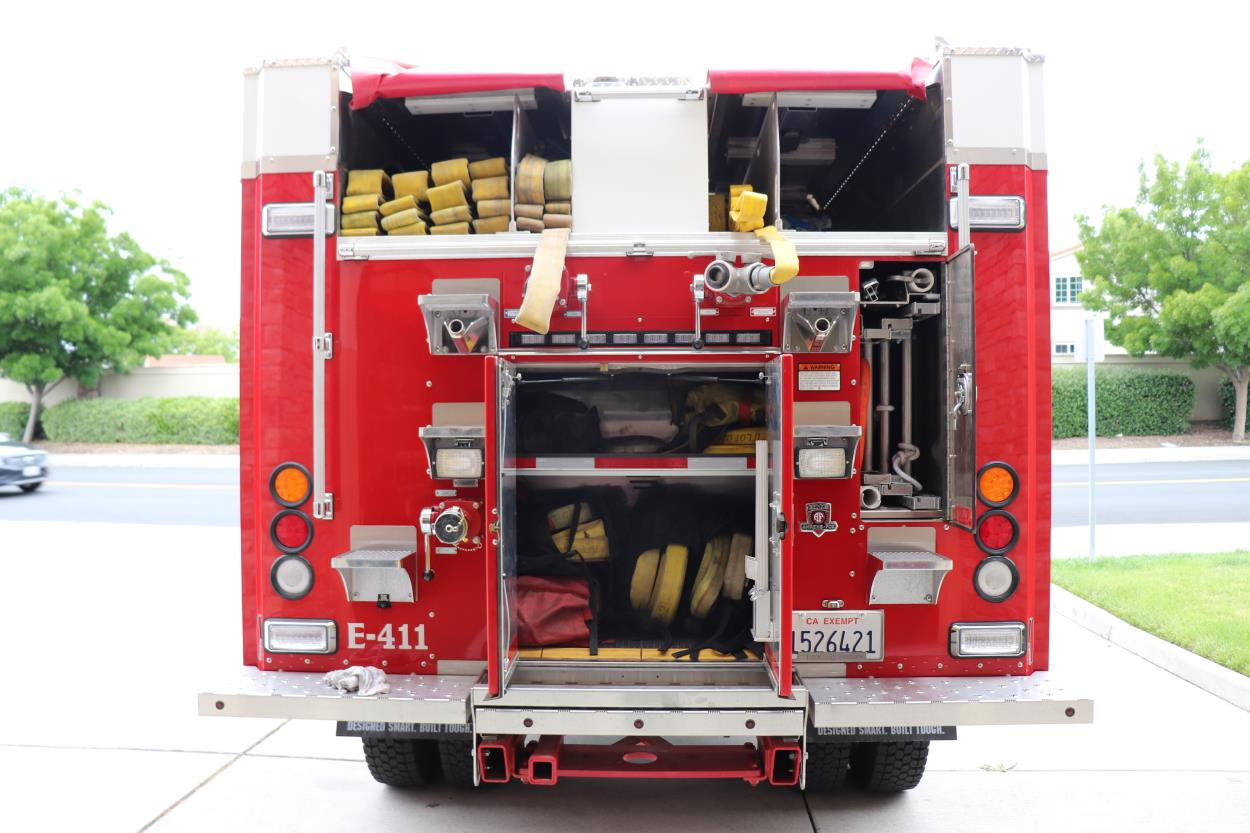 Back view of fire engine.