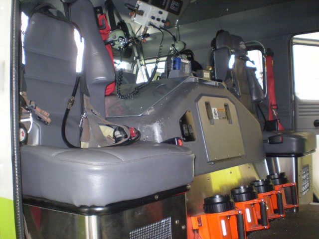 Inside of fire engine.