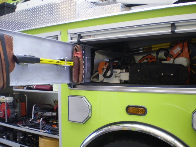 Equipment in fire engine.