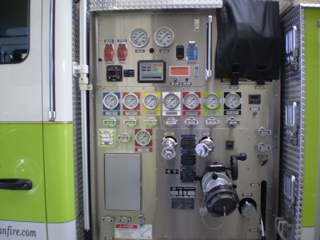 View of fire engine pump panel.